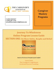 Caregiver Mastery Online Home Learning Program Workbook section one cover only